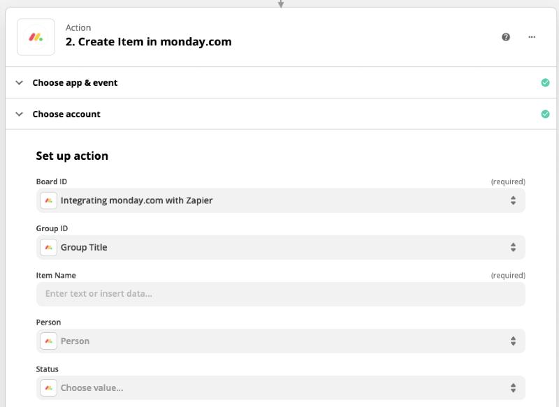 Zapier integraation uusi monday.com UI