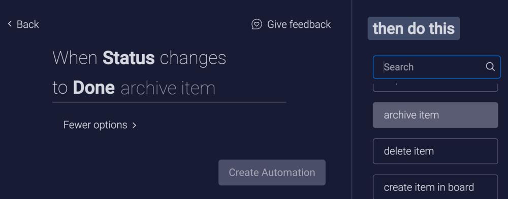 monday.com Arkistoi tai poista itemit custom automaatiossa