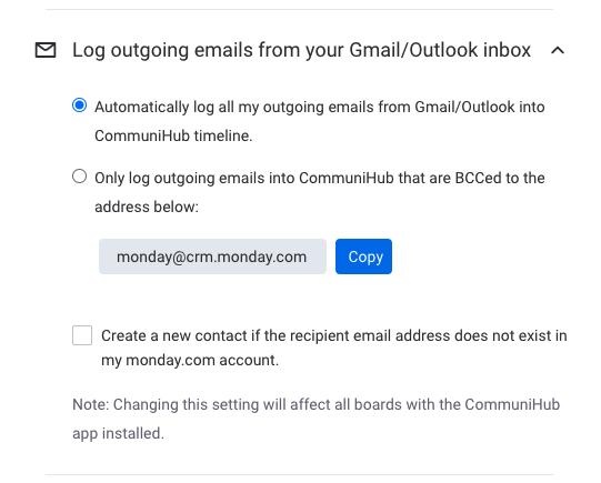 monday.com Sähköpostisovellus Communihub - automaattinen sähköpostien lähetysloki Gmail ja Outlookin sähköposteista